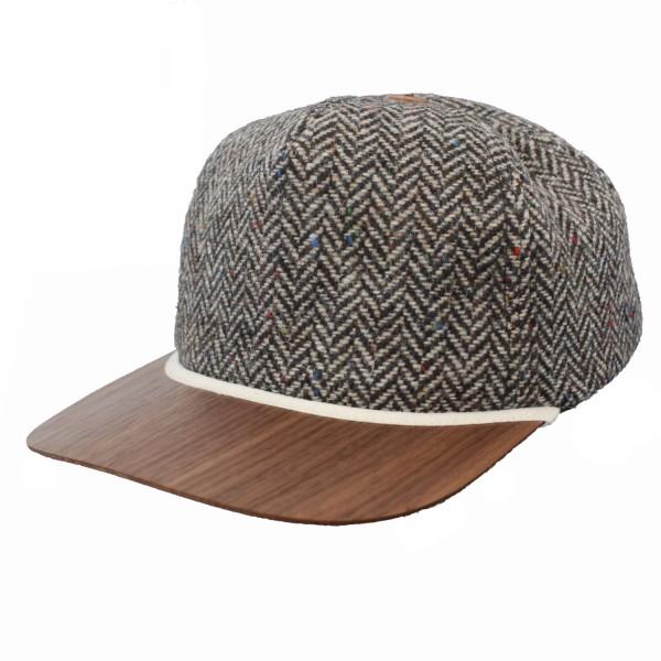 berretto da baseball sostenibile in tessuto tweed con visiera in legno noce