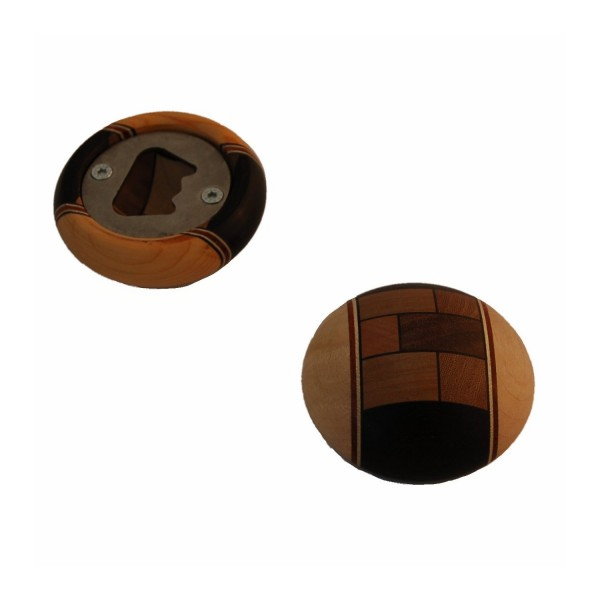 runder Flaschenöffner aus verleimten Holz