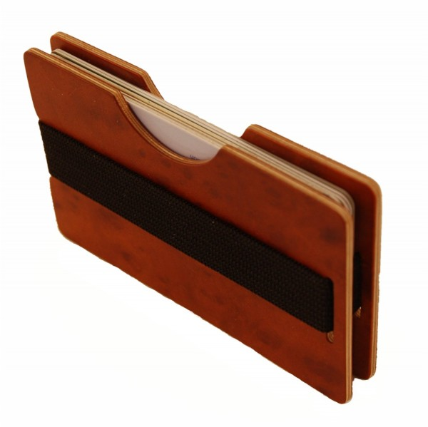 Mini wood wallet made from sustainable natural wood