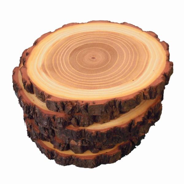 runde Untersetzer aus Akazienholz mit Rinde