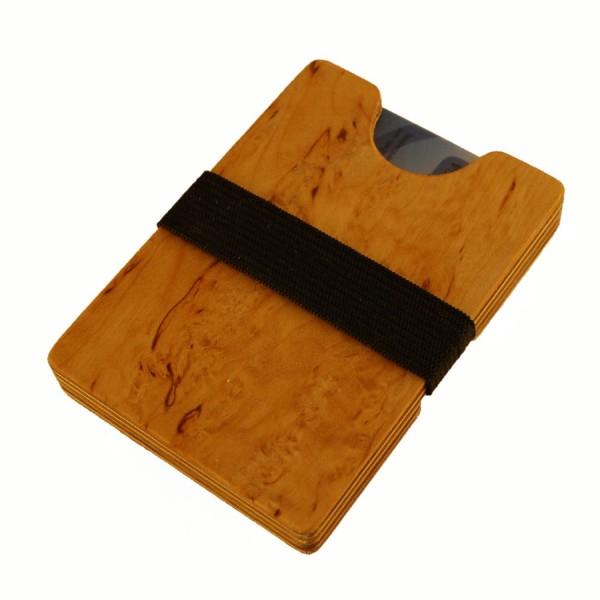 Mini cartera de madera con compartimento para monedas