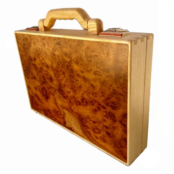 Wooden briefcase made of elm burl wood