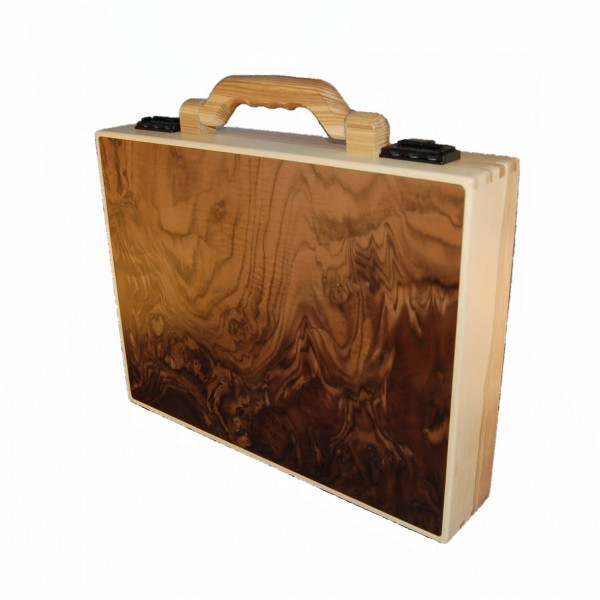 Wooden briefcase made of walnut burl