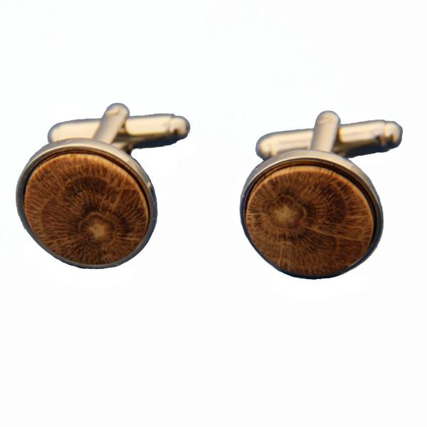 Boutons de manchette en bois de chêne et en acier inoxydable