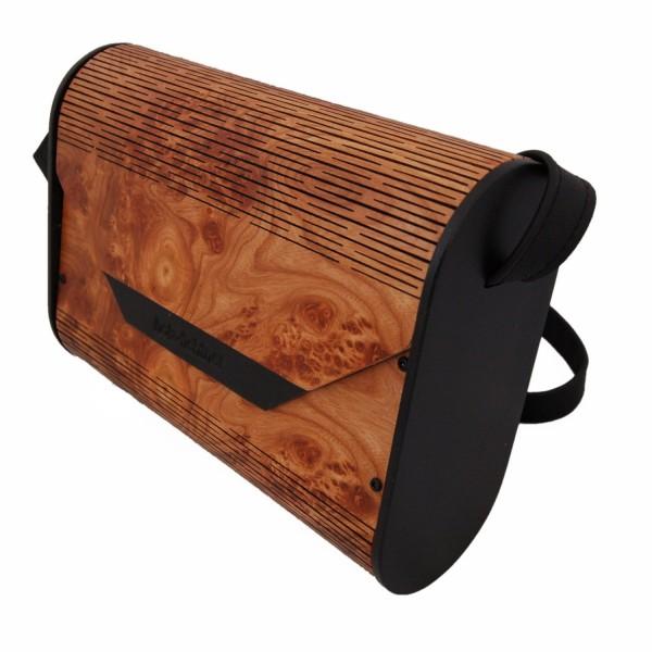 bolso de señora de madera de olmo graneado