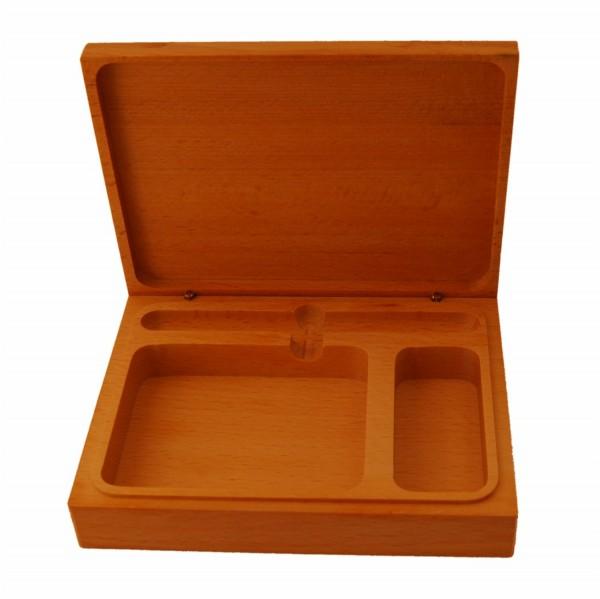 Schreibtischkästchen aus geöltem Buchenholz