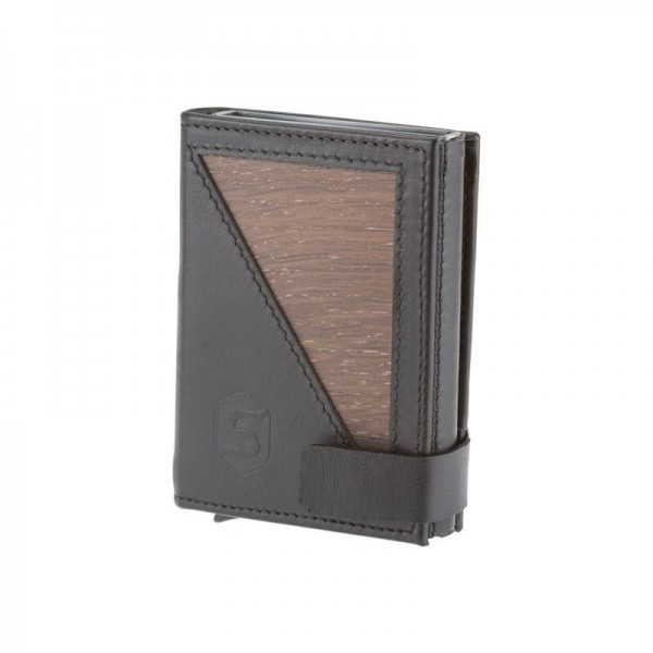 Slimwallet Fin Smoked Oak Black Leather Coin Compartment
