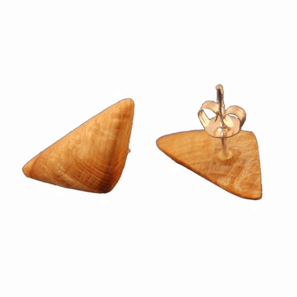 Natural wood ear studs