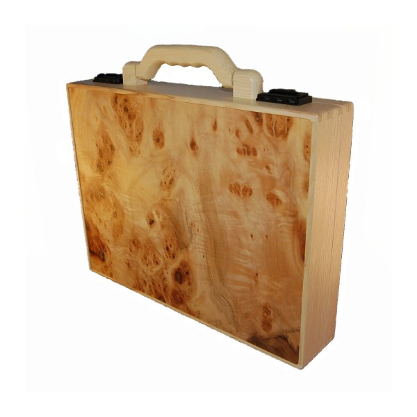 Wooden briefcase hazelnut wood