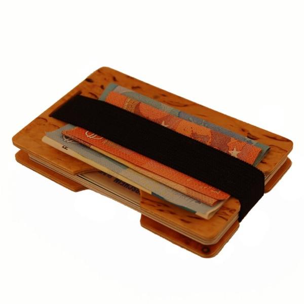 Mini-portefeuille en bois naturel durable