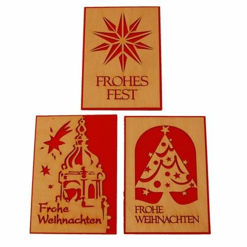 "Holzkarten 3er Set ""Weihnachten"""