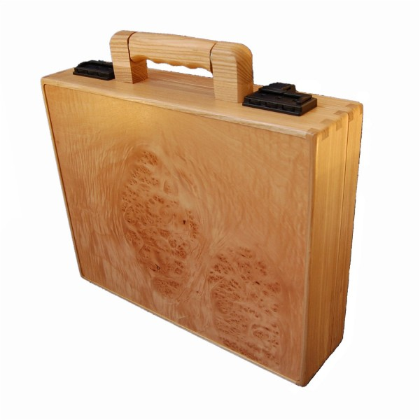 Maple burl wood brief case