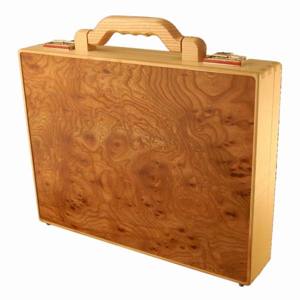 Holzaktenkoffer aus Rüstermaserholz