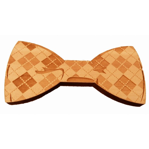 Wooden bow tie with check design