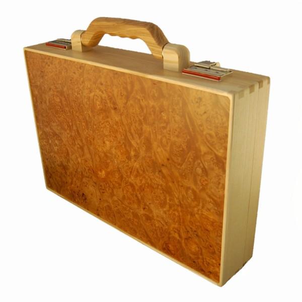 valigetta in legno di acero radica di legno