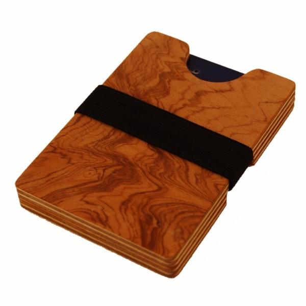 Mini-portefeuille en bois avec compartiment à monnaie