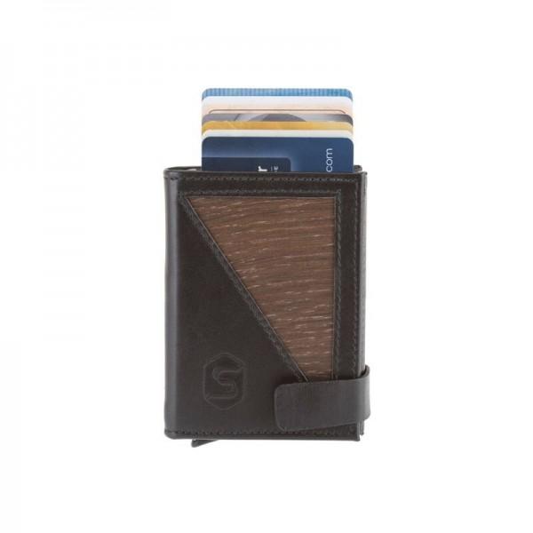 Mini portefeuille en bois et cuir avec protection RFID