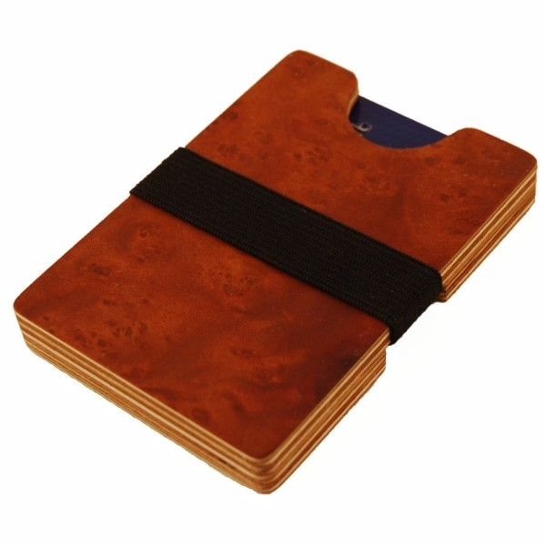 Wooden mini wallet with coin compartment