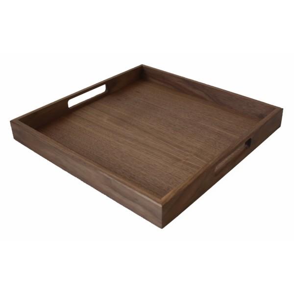 quadratisches Holztablett Nussholz 40x40cm