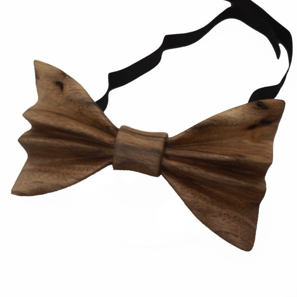 handcarved bow tie from walnut wood