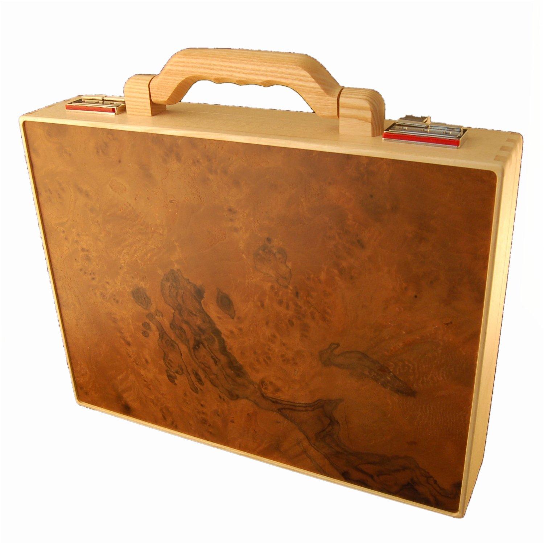 Holz Fichtner hochwertiger holzaktenkoffer aus eschen und walnussholz holz fichtner aktenkoffer