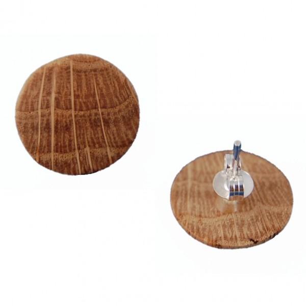 Holzohrstecker rund Eichenholz
