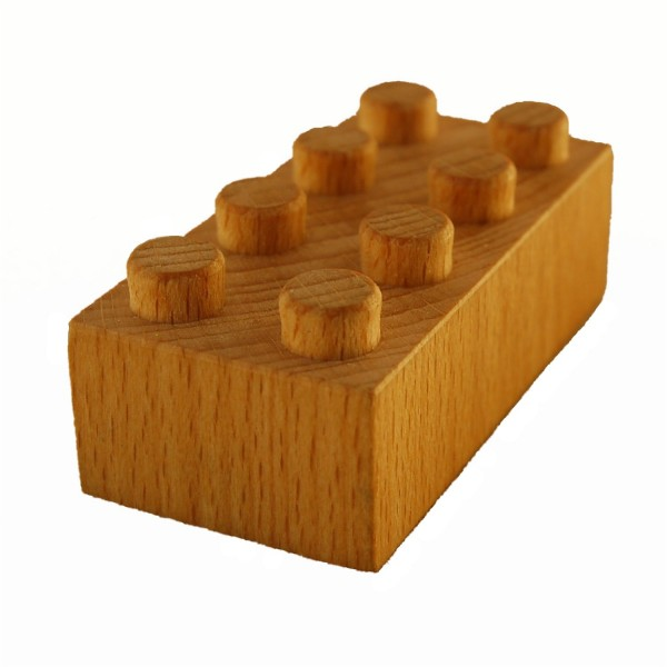 Building block beech wood LEGO compatible