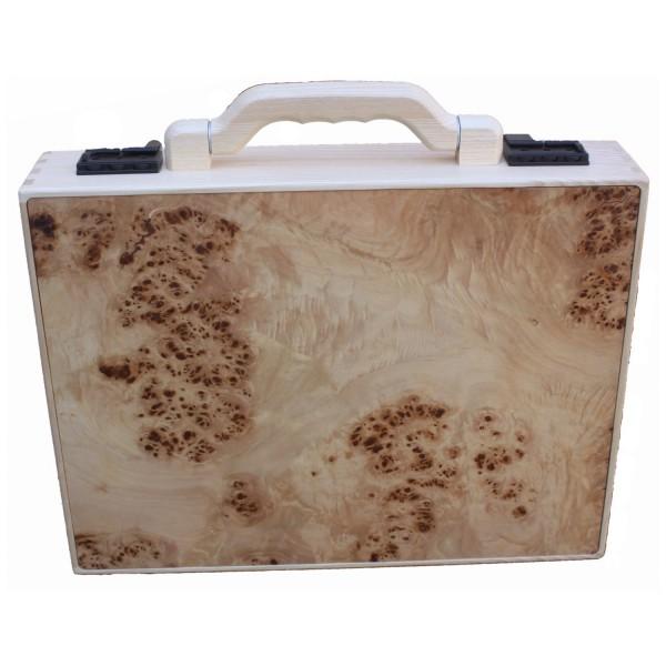 stabiler Holzaktenkoffer aus Pappelholz