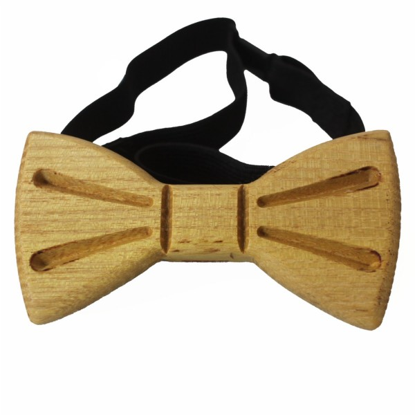 unusual wooden bow tie made of robinia wood