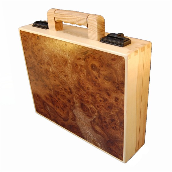 Briefcase made from elm burl