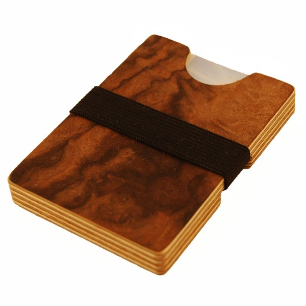 Extra thin wooden wallet