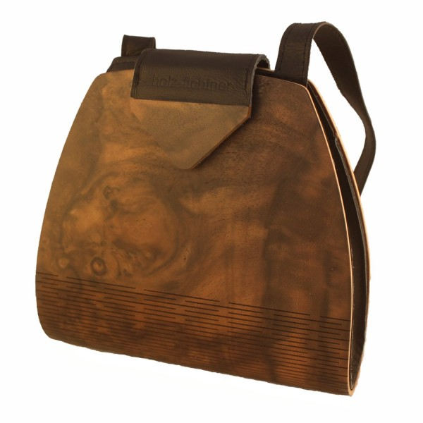 Wooden handbag, walnut burl