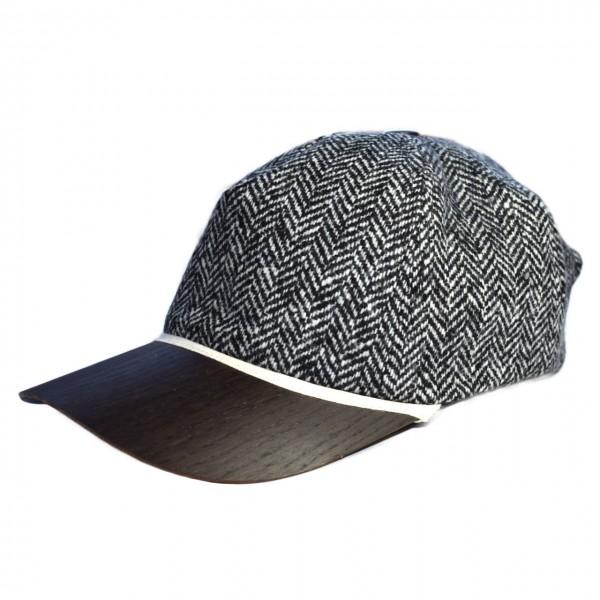 nachhaltiges Baseballcap aus Tweedstoff mit Holzschirm Räuchereiche