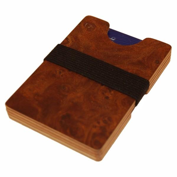 pequeña billetera de madera de olmo