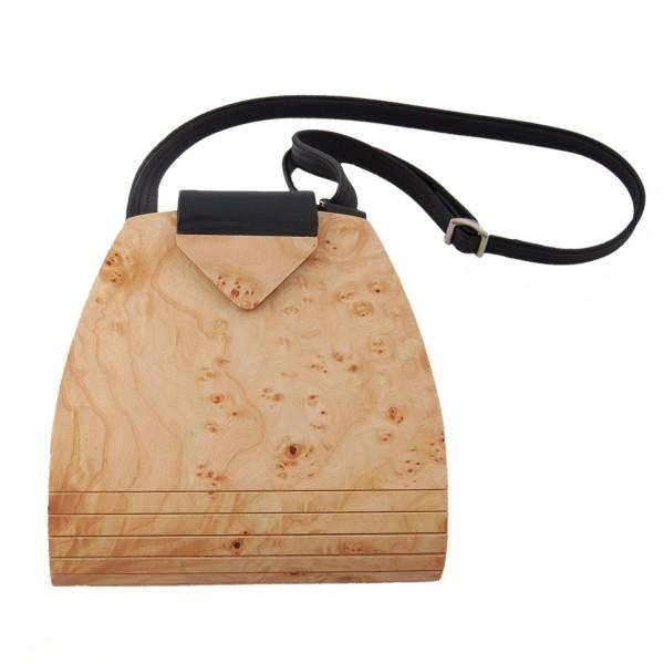 Handtasche aus Holz, helles Rüstermaserholz